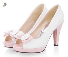 Sfnld Women's Cute Peep Toe Low Top Bow Platform Pumps High Chunky Heel Shoes White 9.5 B(M) US - Sfnld pumps for women (*Amazon Partner-Link)