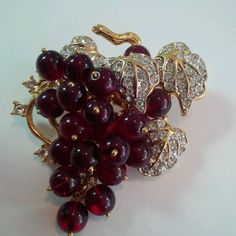 Spectacular Vintage Rhinestone Cranberry Glass Grape Dangle Brooch Nolan Miller