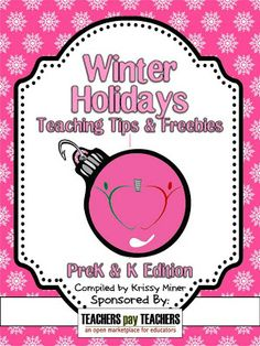 Winter Holiday Tips and Freebies Ebook is now ready to download {for FREE} on TpT. Pre K & K edition.  http://firstgradeschoolhouse.blogspot.com/2012/11/winter-holiday-tips-and-freebies-ebook.html