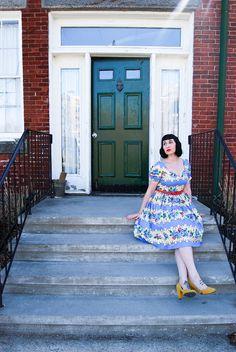 Lindy Bop 'Francine' Blue Rose Stripe Swing Dress