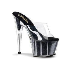 Women's Pleaser Adore 701G ($53) ❤ liked on Polyvore featuring shoes, pumps, black, dress shoes, dresses, glitter platform pumps, black stiletto pumps, black platform shoes and stiletto pumps