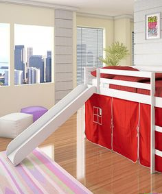 Take a look at this Red & White Twin Tent Loft Bed & Slide on zulily today!