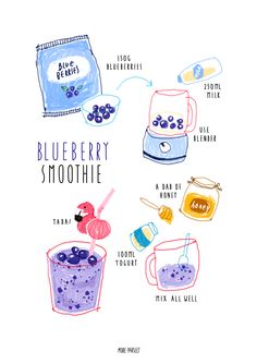 homemade blueberry smoothie recipe illustration with flamingo straw Recipe Drawing, Sketch Note, Food Doodles, Food Sketch, Food Painting, Watercolor Painting, Food Drawing, Life Drawing, Food Journal