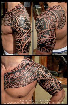 Tatouage mélange de motifs polynésiens - Tatouage tribal