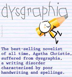 Agatha Christie had dysgraphia, a learning disability List Of Learning Disabilities, Improve Writing, Dysgraphia, Right Brain, Agatha Christie, Pediatrics, Disability, Trauma, Behavior