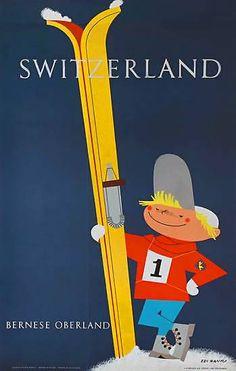 Switzerland   Bernese oberland   Vintage travel poster   European travel Posters