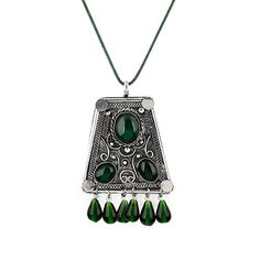 Green Emerald Pendant Necklace by All the Rage