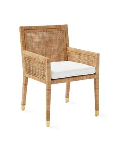 Balboa Armchair - Parsons Style - Mahogany & Rattan - Home Decor & Furniture - Serena & Lily Coastal Bedrooms, Coastal Living Rooms, Bistro Chairs, Side Chairs, Dining Room Design, Dining Room Chairs, Kitchen Chairs, Lounge Chairs, Cozy Kitchen