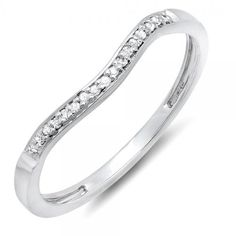 0.10 Carat (ctw) 14K Gold Round Diamond Ladies Anniversary Wedding Band Guard Ring 1/10 CT ** You can get additional details at the image link.