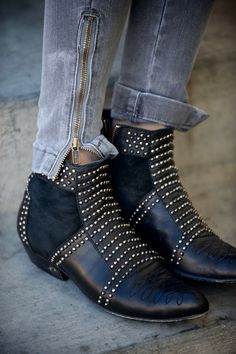 Silver studded Anine Bing boots available for special order.
