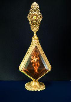 "French Ormolu Perfume Antique Cherub Bottle Large rhinestone top Victorian amber glass Brass Filigree 12"" tall Vanity accessory"