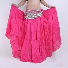 16 Colors Tribal Belly Dance Performance Women Gypsy Dance Full Circle Linen Skirt Women Belly Dance Gypsy Skirts #Affiliate