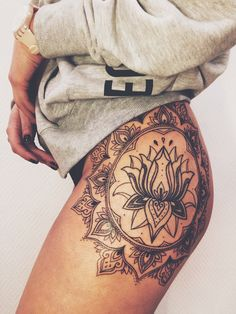Lotus mandala hip tattoo
