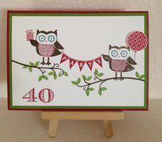 Stampin Up, Auftragsarbeit, Einladung zum 40. Geburtstag, Owl Occasions