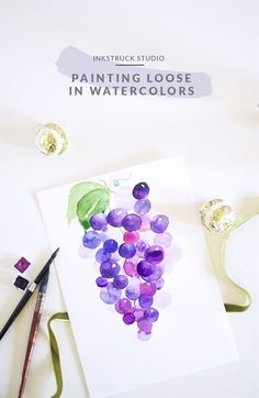 Loose watercolor painting - A detailed tutorial Watercolor Fruit, Pen And Watercolor, Watercolour Painting, Watercolor Flowers, Painting & Drawing, Watercolor Ideas, Watercolours, Watercolor Pictures, Watercolour Tutorials