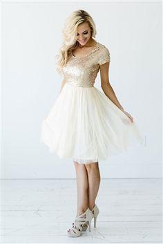 Light Cream Gold Modest Bridesmaids ,
