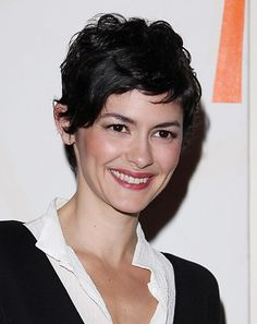 Audrey Tautou Pixie cut - my hair isn't long enough for this yet, but once it is, I might have it cut like that.  My hair tends to curl like that at that length and it's cute...at least on Tautou.