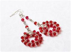 Wire-wrapping  red earrings w Evedesign na DaWanda.com