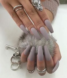 """If you're unfamiliar with nail trends and you hear the words """"coffin nails,"""" what comes to mind? It's not nails with coffins drawn on them. It's long nails with a square tip, and the look has. Gorgeous Nails, Love Nails, Fun Nails, Pretty Nails, Amazing Nails, Perfect Nails, Grey Matte Nails, Matte Nail Polish, Nail Nail"""