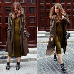 Get this look: http://lb.nu/look/7894624  More looks by Sylwia Gocajna: http://lb.nu/smellslikefashion  Items in this look:  Stradivarius Dress, F&F Coat, Stradivarius Boots   #chic #edgy #minimal #khaki #trendy #longcoat #bodychain #dress #boots