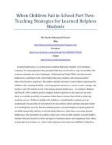 When Children Fail in School Part Two: Teaching Strategies for Learned Helpless Students
