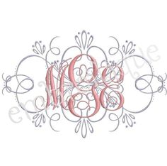 Vintage Flourish Accent -  for Machine Embroidery Monogram Fonts - 3 sizes. $2.99, via Etsy.