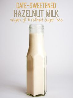 Date-Sweetened Hazelnut Milk This recipe soaks the hazelnuts - try it next time Brilliant for Chufamix & Bamix Milk Recipes, Dairy Free Recipes, Vitamix Recipes, Vegan Recipes, Non Dairy Creamer, Roh Vegan, Milk Alternatives, Vegan Milk, Plant Based Milk