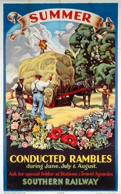Poster, Southern Railways, 'Conducted Rambles, Summer' by Audrey Weber, 1936 Posters Uk, Train Posters, Railway Posters, Modern Posters, Retro Posters, Vintage Travel Posters, Vintage Postcards, Poster Vintage, British Travel