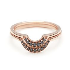 Crescent Set Black Diamond Stacking rings engagment unique designer nyc – Anna Sheffield Jewelry