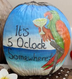 """Five Oclock Somewhere"" hand painted coconut by Jenn Payne. Fish Crafts, Beach Crafts, Rock Crafts, Painted Gourds, Painted Rocks, Hand Painted, Palm Frond Art, Palm Fronds, Puerto Rico"