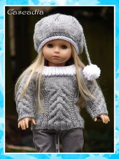 "Cascadia, a cable stitched sweater and tam knitting pattern for American Girl Dolls/18"" Gotz Dolls. $2.75, via Etsy."