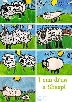 Sheep-art-project from Deep Space Sparkle Kindergarten Art Lessons, Art Lessons Elementary, Cs Lewis, Nikola Tesla, First Grade Crafts, Sheep Paintings, Animal Paintings, Deep Space Sparkle, Food Art For Kids
