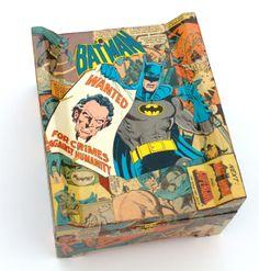 (http://www.papervsglue.com/batman-comic-book-cigar-box/)  Vintage Batman Wing Comic Book Collage Cigar Box