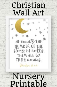 Grab your 20% off COUPON >>http://eepurl.com/dgJ1C1  This moon and stars wall art is a great Christian print for your neutral nursery décor. Help your baby learn Scripture from birth. This printable would also make a great baby shower gift.