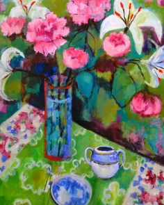 """Still Life Artists International: """"Peonies on Green Table"""" by Santa Fe painter Annie O'Brien Gonzales Still Life Artists, Art Aquarelle, Expressionist Artists, Expressionism, Paintings I Love, Floral Paintings, Arte Floral, Print Artist, Flower Art"""