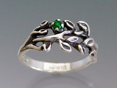 $45.00  #sheppardhilldesign #etsy #buyhandmade  Branches ring with emerald or ruby cabochon