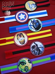 For your Superhero Birthday Party- these can go over cups, little buckets, etc