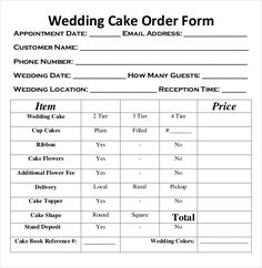 Image Result For Cake Order Form Template Free Download