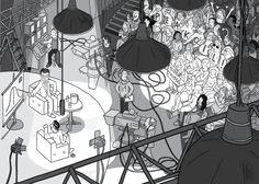 High angle view of studio lights above TV studio. Detailed drawing of studio audience watching a talk show being recording by TV cameras.  Image from Stuart McMillen's comic Peak Oil (2015), from the book Thermoeconomics (2017).