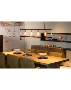 Lucide Oris 4 Light Bar Ceiling Pendant - Copper from Lighting Direct. Copper Dining Room, Dining Table Pendant Light, Lights Over Dining Table, Dining Room Light Fixtures, Kitchen Lighting Fixtures, Copper Kitchen, Dining Table In Kitchen, Copper Light Fixture, Copper Pendant Lights