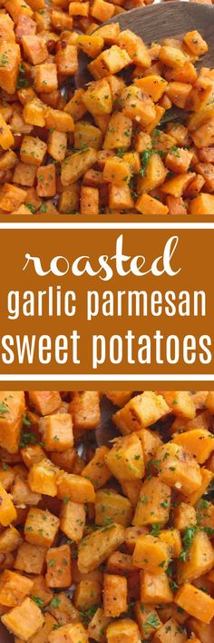 Roasted Garlic Parmesan Sweet Potaotes | Sweet Potatoes | Side Dish Recipes | Sweet Potato Recipes | Roasted sweet potatoes are coated in a mixture of garlic, parmesan, and seasonings and then baked until soft on the inside and butter, crispy on the outside. One bowl and a few simple ingredients are all you need for a delicious side dish to Easter dinner or any Holiday dinner table.