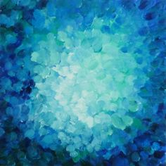 abstract painting, surfacing, in aqua, ultramarine, turquoise and blue-greens. $175.00, via Etsy.