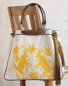 bunny bag: I love yellow and embroidered things