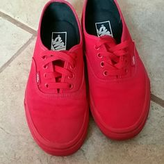 Vans!! All red size 6.5 women /5 men Vans size 6.5 women / 5 men. All red really chic! Smoke and pet free home. Worn about 5 times. Like new. Small black spec on toe as shown in picture. Only noticeable up close. No damage. Vans Shoes Sneakers
