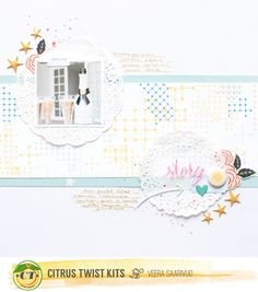 "Citrus Twist Kits: ""3 to Inspire"" with Veera Saarivuo Here are your prompts- 1. Use doilies 2. Divide your journaling to two places 3. Use enamel shapes"