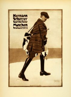 """Hermann Scherrer"" This is an original 1926 photogravure of an advertising poster by Ludwig Hohlwein for Hermann Scherrer, Sporting Tailor in Munich. Period Pap"