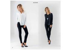 top noir - blanc - marine - CpourL.fr Blouse, Black Jeans, Collection, Pants, Fashion, Fashion Ideas, Shirt Blouses, Trendy Outfits, Fall Winter