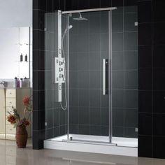 Master Bath Glass Shower Door:  DreamLine Vitreo 58-1/8 in. x 76 in. Frameless Pivot Shower Door in Chrome-SHDR-21587610-01 - The Home Depot  $624.40