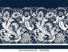White seamless lace. All elements and textures are individual objects. Vector illustration scale to any size. - stock vector