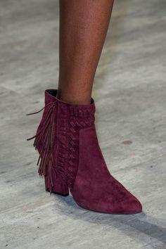 LSC | Style - Rebecca Minkoff Fall 2015 NYFW- Burgundy fringe suede ankle boot. Luxuryshoeclub.com